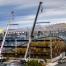 installation with cranes of 85 kilowatt solar array in missoula montana parking structure